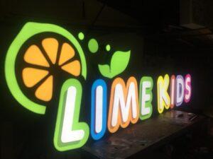 Вывеска для магазина детской одежды Lime Kids от рекламного агентства Точка Взлета в Краснодаре